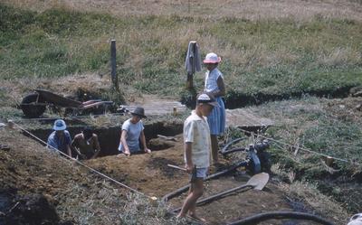 Olsson swamp excavation, site 3, Waitara; 1960; PHO2010-0660