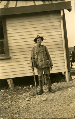 Victor Caddy Davies in military uniform at Featherston; 03 May 1917; PHO2013-0137