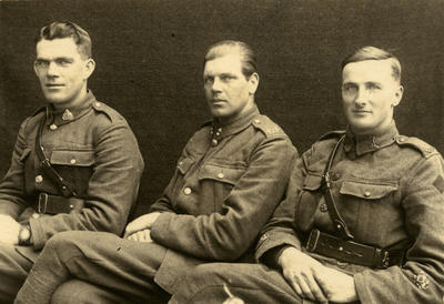 Victor Caddy Davies, R. Seatter and A. S. Priestley, Sergeant Majors of the New Zealand Division Education School; 23 Feb 2019; PHO2013-0139